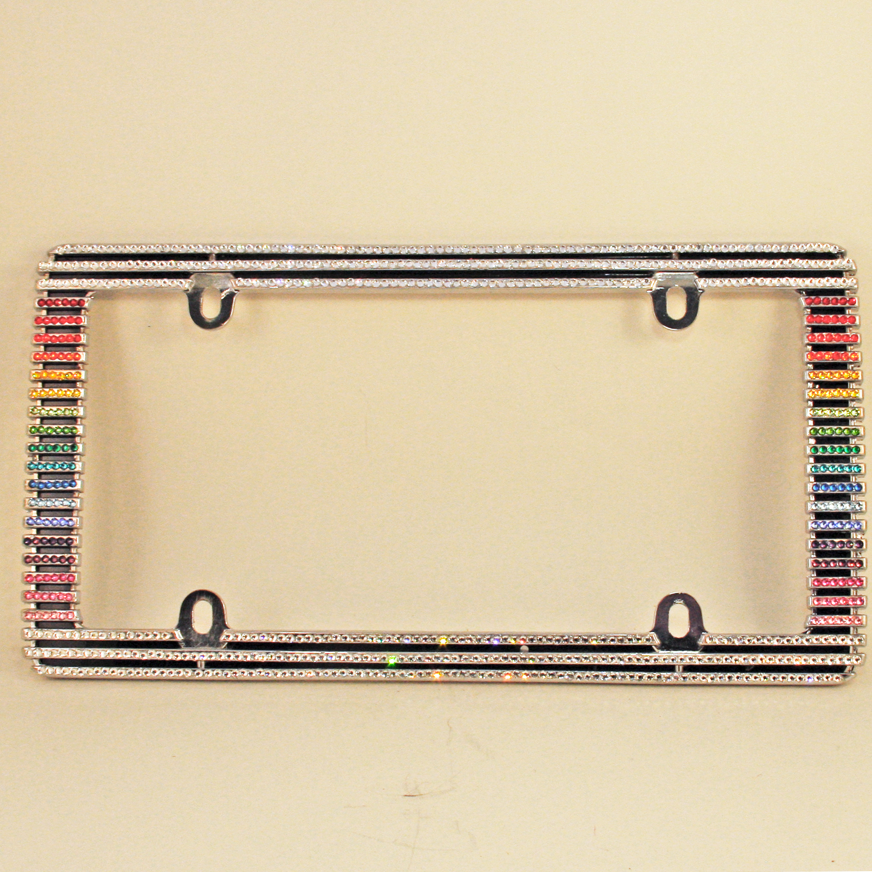 "Over the Rainbow"" Swarovski Crystal License Plate Frame – sparklefox.com"